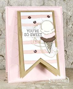 My eyes are always attracted to pink and brown, but even more so when ice cream is involved! See more photos on the blog today and how you can incorporate a gift card! #create #linkinprofile #handmade #stampinup #diy #papercrafts
