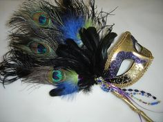 Royal Blue Lime Green and Purple Peacock Venetian by PartyBijou, $65.00