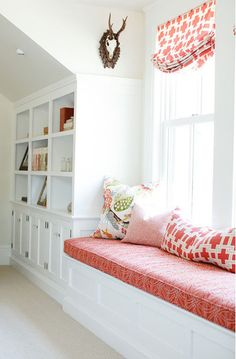 Love the Window Seat, the Shelving Unit, and the Colors
