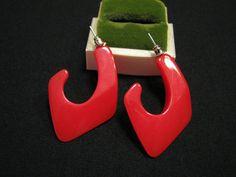BIG Vintage Red Lucite Spike Half Hoop Pierced by JewelryStash