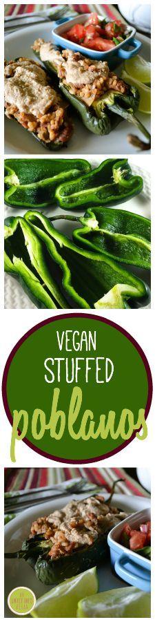 Lunch Recipe: Vegan Stuffed Poblanos #vegan #recipes #healthy #plantbased #glutenfree #whatveganseat #lunch
