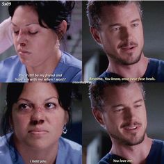 I hate You. Greys Anatomy Frases, Greys Anatomy Funny, Grays Anatomy Tv, Grey Anatomy Quotes, Mark Sloan, Tv Show Quotes, Movie Quotes, Grey's Anatomy Tv Show, Grey Quotes