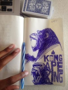 "From yesterday. Think this is day 10 of pen sketching in my notebook during my temporary laptop ""woes"".. KONG- APE KING #moleskin #pen #drawing #Kong - http://ift.tt/1HQJd81"