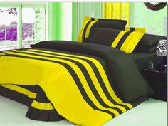 Xmas 15'' 4 Pc Stripped Twin Yellow & Black Duvet / Quilt Cover Set