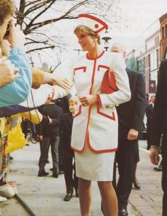 Princess Diana/****in red and white suit. Don't think we've seen this one before.
