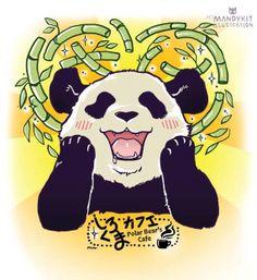 Polar Bear Cafe Panda print by zarmandyr on Etsy, $7.00