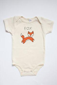 Original FOX illustration silkscreened on American Apparel, Organic Infant Short Sleeve Onesie (sustainable edition).    Boutique-quality garment