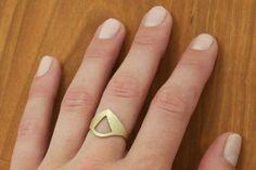 Low Profile Brass Statement Ring Geometric Brass Ring by kikibyKV