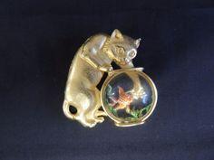 Vintage Goldtone JJ Cat in Goldfish Bowl Brooch Pin Designer Signed Painted Fish
