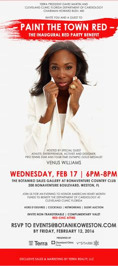 Join Terra Group at #Botaniko in Weston for a Red Carpet benefit! Hosted by star athlete & activist Venus Williams