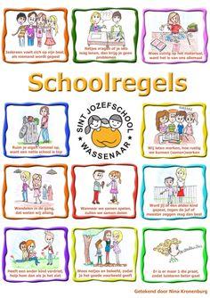 Schoolregels | Jozefschool Wassenaar Beginning Of The School Year, Back To School, Birthday Calendar Classroom, Student Clipart, School Organisation, Teacher Inspiration, School Posters, School Hacks, School Classroom