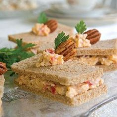 ♔ Spicy Pecan Pimiento Cheese Sandwiches ~ (My personal favorite) Tea Party Sandwiches, Finger Sandwiches, Cucumber Sandwiches, Tea Recipes, Cooking Recipes, Party Recipes, Raspberry Tea, Appetizer Recipes, Afternoon Tea