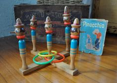 Wooden Pinocchio Toss Game/Vintage 1960s/With by carohope on Etsy