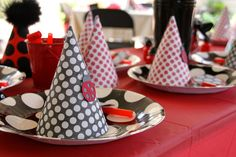Pretty ladybug birthday hats