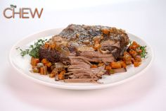 the chew--red wine braised beef brisket The Chew Recipes, Lamb Recipes, Meat Recipes, Wine Recipes, Cooking Recipes, Recipies, Paleo Recipes, Yummy Recipes, Beef Dishes