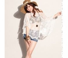 Fabulous Embroidered Wave Petal Lap Bat-wing Cape White Capes For Women, Large Scarf, Cheap Fashion, Kimono Top, Short Sleeves, Chiffon, Pullover, Silk, Lace