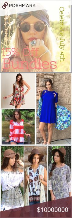 Celebrate Independence Day! Celebrate with Threads & Trends for the long 4th of July weekend! Now during this weekend get 15% off bundles when you bundle 2+ items together. To get the discount just use the bundle feature when to add your items and it will get automatically discounted. Embellished Free People Dresses