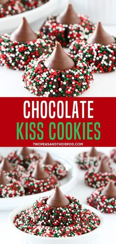 An easy, fun, and decadent chocolate cookie rolled in sprinkles and topped with a chocolate kiss! This dessert recipe is sure to be loved by your kids, family, and friends!