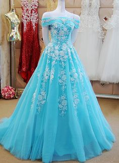 Formal Prom Dresses, Off Shoulder Long Tulle Prom Dresses Lace Appliques Women Dresses Whether you prefer short prom dresses, long prom gowns, or high-low dresses for prom, find your ideal prom dress for 2020 Cute Prom Dresses, Tulle Prom Dress, Beautiful Prom Dresses, Ball Dresses, Pretty Dresses, Lace Dress, Ball Gowns, Elegant Dresses, Sexy Dresses