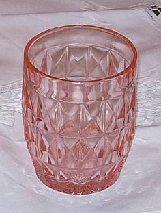 Valuing and Identifying Depression Glass: Windsor Tumbler - Pink Antique Glassware, Antique Bottles, Vintage Perfume Bottles, Pink Depression Glassware, Antique Decor, Antique China, Glass Dishes, Carnival Glass, Glass Design