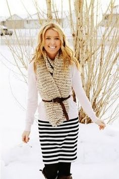 Black and white stripe upcycle: Shirt into skirt!