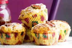 Fill your lunch-box or picnic basket with these tasty muffins with a fig jam surprise in the inside.