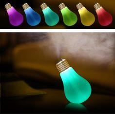 Umidificator aer in forma de bec cu LED Air Freshener, Led Lamp, Light Bulb, Essential Oils, Table Lamp, Humidifier, Night Lights, Modern, Usb