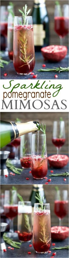 - 4 Ingredient Sparkling Pomegranate Mimosas are a fun cocktail to start your weekend with! Perfect for the holidays, great for brunch or a girls weekend! | joyfulhealthyeats.com