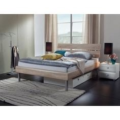 Modernes Designerbett Diego - cm - Eiche natur - Fußhöhe 25 cm Inexpensive bed made of MDF in high quality, available in many decorative surfaces, sizes and heights. Outdoor Furniture Plans, Porch Furniture, Pallet Furniture, Furniture Storage, Dresser Furniture, Furniture Projects, Furniture Makeover, Diy Sofa, Diy Bed