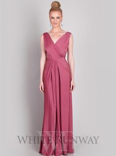 Hailey Dress. A very chic and elegant full length gown featuring a V-neck back and front, open pleats at the waist and gorgeous draping from waist down. Available in Old Rose and a huge variety of Custom Colours.