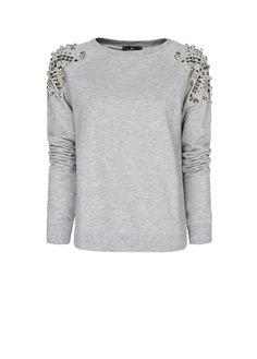 MANGO - Embellished shoulders sweatshirt