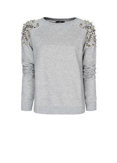 MANGO - Embellished shoulders sweatshirt
