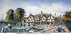 Water colour painting of Doddington Rectory and its garden from 1850.