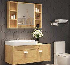 Wooden Bathroom Cabinets Bathroom Basin Cabinet, Wooden Bathroom Vanity, Fitted Bathroom Furniture, Wood Bathroom Cabinets, Furniture Vanity, Wooden Cabinets, Cabinet Furniture, Washroom, Wooden Bathroom Accessories