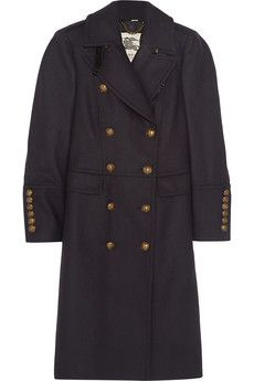 Burberry London Leather-trimmed wool-blend trench coat | NET-A-PORTER