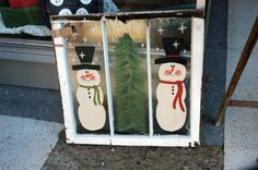 snowman old window screens painted | ... so I think I'll pull some more out of the pile and paint more snowmen