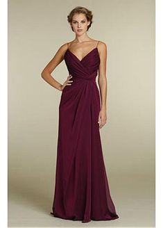 Gorgeous Chiffon Sheath Spaghetti Straps Full Length Bridesmaids Dress