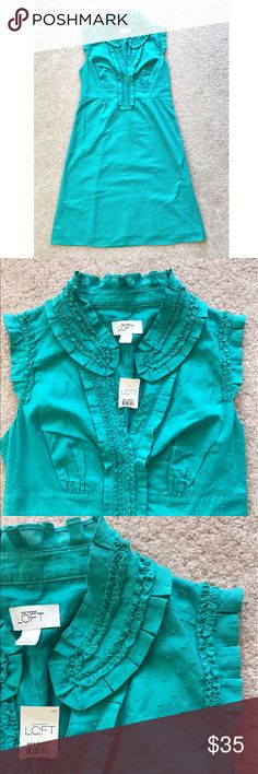 "NWT Ann Taylor Loft Dress NWT Ann Taylor Loft Dress - Size 2. Deep turquoise color. Raised green dots. Ruffled neckline. No stains or tears. Bust: 31.5"" // Hips: 35.5"" // Length: 36"" // Open to offers LOFT Dresses"
