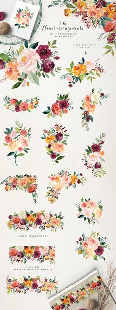 Watercolor Flower Clipart -Paprika by Twigs and Twine his set of floral elements. - Watercolor Flower Clipart -Paprika by Twigs and Twine his set of floral elements and design assets - Illustration Design Graphique, Blush And Gold, Coral Blush, Coral Peonies, Coral Navy, Navy Gold, Rose Gold, Blush Wedding Flowers, Wedding Colors