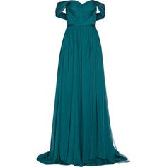 Off-the-shoulder silk-chiffon gown