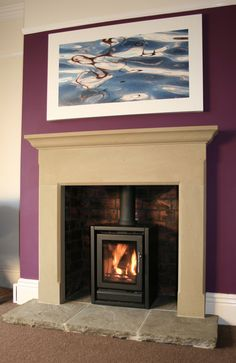 The Ashford Fire Surround in Sandstone with Old Flagged Hearth