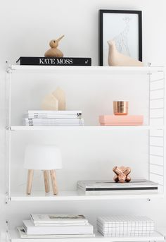 String System shelves, Milk table lamp by AndTradition. From the blog Nordic leaves.