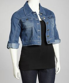Take a look at this Deep Blue Cropped Denim Jacket - Plus by Starwear on #zulily today!