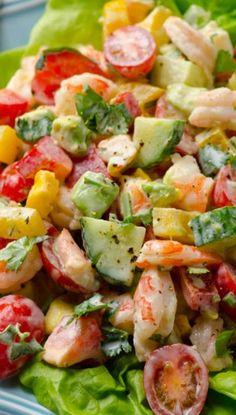Greek Yogurt Shrimp, Avocado, and Tomato Salad- a light summer meal idea with fresh veggies! @ifoodreal