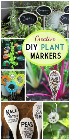Creative DIY Plant Marker made from wooden spoons, fly swatters, stones, metal washers, and dollar store supplies.