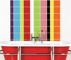 Bright Pop-Art Field tiles, will add splashes of colour to any bathroom.