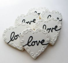 Love Heart cookie favors decorated for a Wedding, Bridal shower or Valentines,1 Dozen