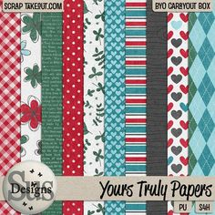 Yours Truly Papers - 10 lovely patterned papers #SusDesigns #DigiScrap #Scrapbook