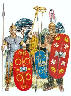Arms and armor of Celtic warriors century BCE Iron Age, Ancient Rome, Ancient History, Guerrero Tribal, Gaul Warrior, Punic Wars, Tribal Warrior, Celtic Warriors, Shield Design