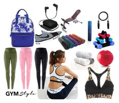 """GYM ESSENTIALS"" by ashleyyjames ❤ liked on Polyvore featuring NIKE, Elle Sport, iWorld, Kipling and Roberto Cavalli"
